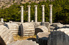 Sanctuary of Athena with reconstructed columns at Priene, Turkey, Eurasia.