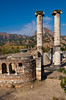 The ruins of the Christian Chapel and the remaining columns of the Temple of Artemis at the former city of Sardis, Turkey, Eurasia.