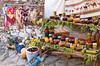 A display of street market items in Sirinci, Turkey, Eurasia.
