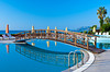 The pool area of the Best Resort Hotel in Tasucu, Turkey, Eurasia.