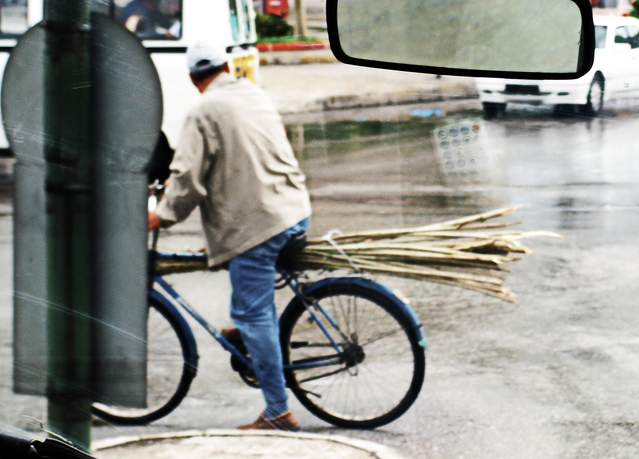 Carrying Sticks on a Bicycle