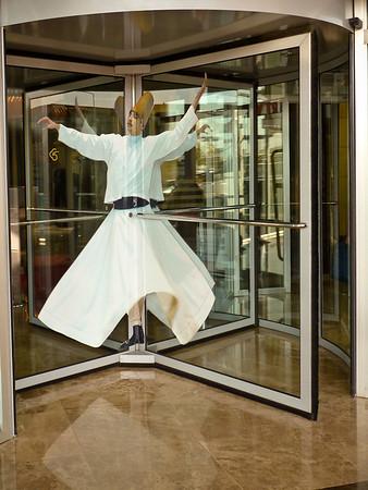 Whirling Dervish door at Konya Hotel