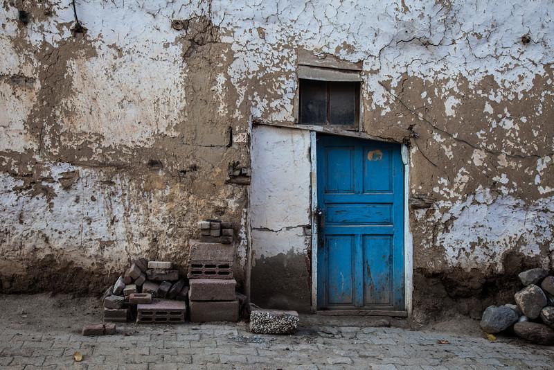 Blue door, Soloz, Turkey