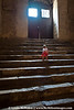 Child climbing Hagia Sophia stairs.