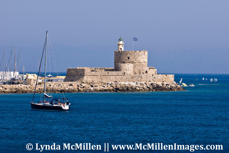 Bastion of St. Paul at entrance to Rhodes harbor.