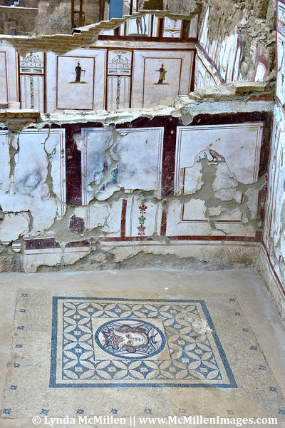 """Marble Hall"" was decorated ~119 AD.  Marble panels compliment mosaic floors."