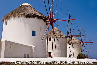 Iconic 16th century windmills, Mykonos Greece