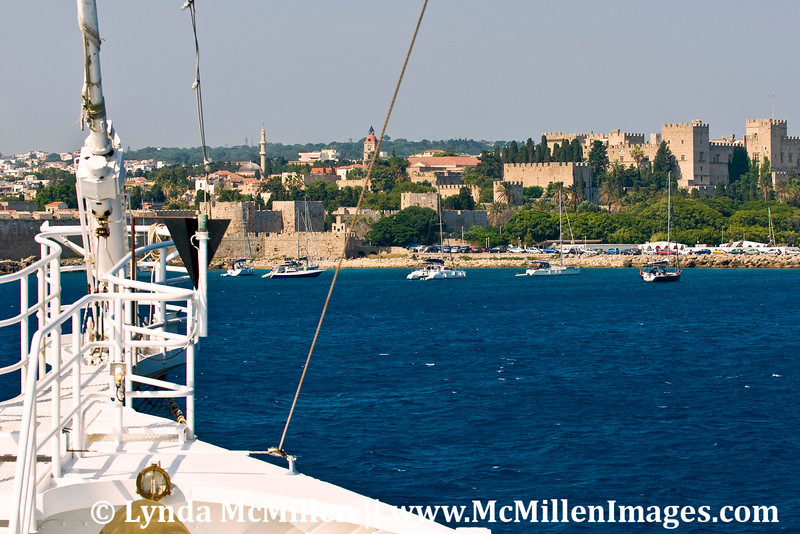 Arriving at Rhodes, Greece Old Town harbor.