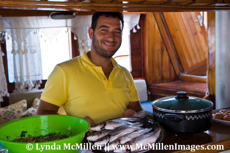 Halil serving lunch on our gulet ship.