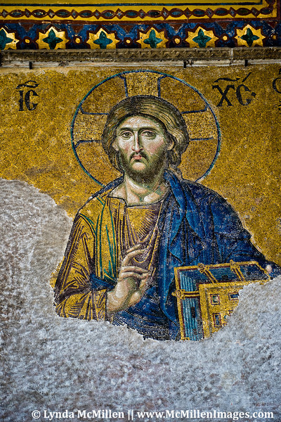 Christ detail from the Deesis Mosaic in the south gallery of Hagia Sophia.
