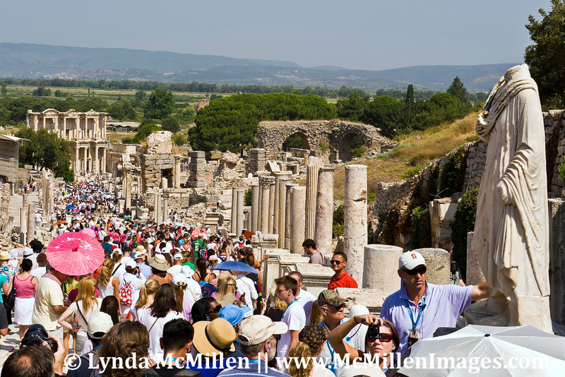 Curetes Street in Ephesus was lined by statues of civic notables.  The Library of Celsus is seen at the end of the road.