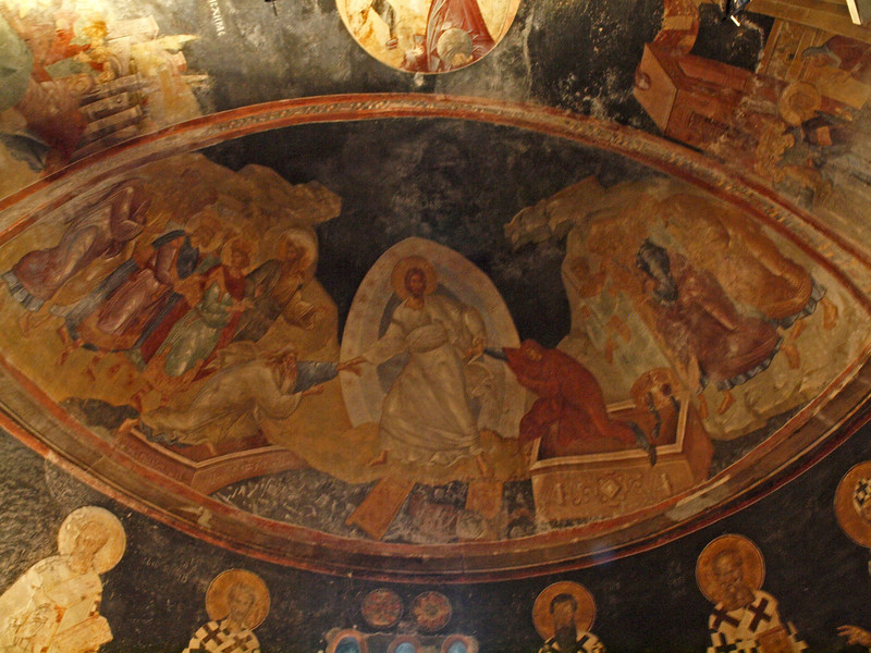 Fresco - The resurrected Christ rescuing Adam and Eve from Hell (Anastasis)