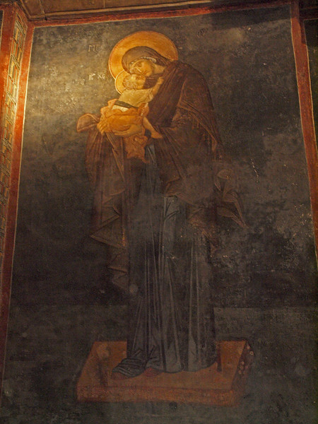 Painted scene of the Virgin Mary with the Christ Child - The Virgin Elousa