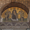 Mosaic of the Virgin Mary with the Christ Child and two of the founders of Hagia Sophia (The Church of Holy Wisdom). Istanbu.  Built in 537 AD