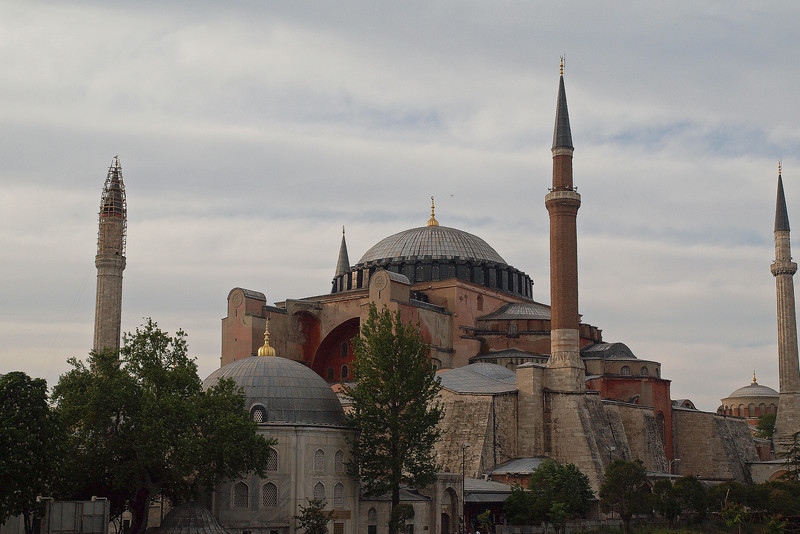 Haghia Sophia (Church of Holy Wisdom) from hotel window.  The third church to be built here in 537 AD.  It was the largest Cathedral in the world for 1000 years.