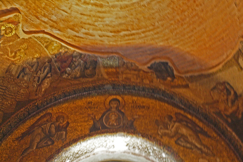 Church of the Holy Savior in Chora built in 1081.  Restored and mosaics added in 1315.  Mosaic depicting the Virgin Mary with the Christ Child flanked by angels.  Fragment of mosaic depicting the life of Christ (Christ turning the water into wine) to the left.