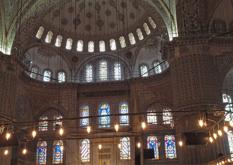 Interior of the Blue Mosque of Sultanahmet. Built in 1616, interior is tiled and painted