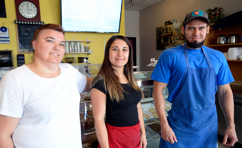 . Boulder, CO - AUGUST 16: Zena Tuna, co-owner, Selda Cayir, co-owner, and Rafael Castillo, chef at Breakfast Champion Mediterranean Breakfast, Lunch and Bakery.  (Photo by Cliff Grassmick/Staff Photographer)