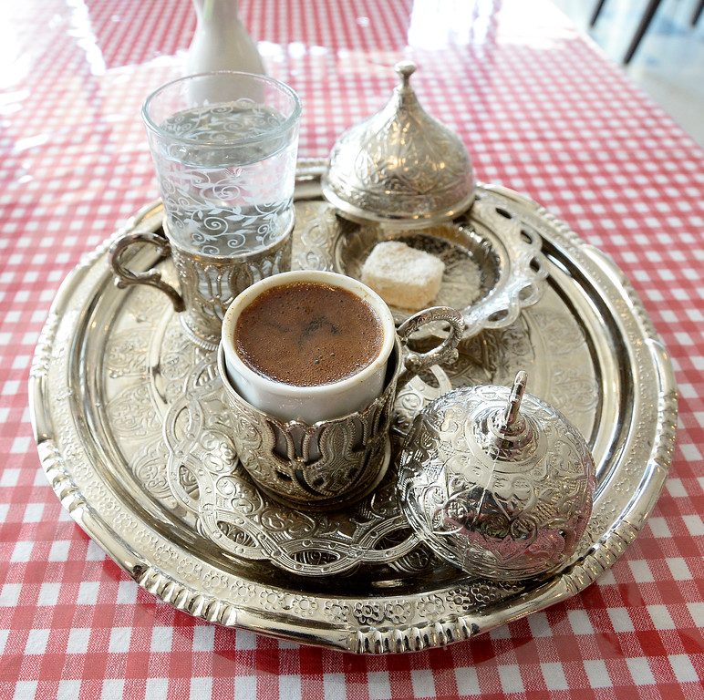 . Boulder, CO - AUGUST 16: The Turkish coffee presentation at Breakfast Champion Mediterranean Breakfast, Lunch and Bakery.(Photo by Cliff Grassmick/Staff Photographer)