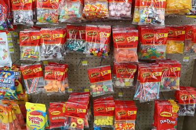 Cote's Market, on Salem Street in Lowell, is celebrating a century in business this year and is now in its fourth generation. Just some of the candy they sell. SUN/JOHN LOVE