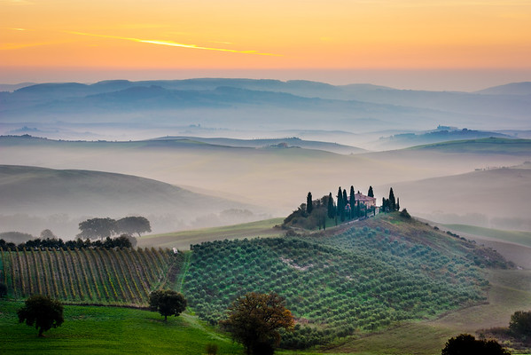 The Belvedere Val d'Orcia at sunset, Tuscany, Italy
