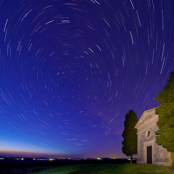 Star Trails; Capella di Vitaleta; Val d'Orcia; Tuscany; Italy