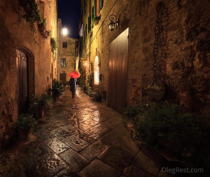 Rain in Pienza
