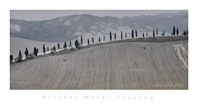 Early morning before the fog has burned off in Tuscany along highway south of Siena