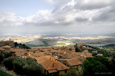 View of the Tuscan countryside from the fort at Montalcino.