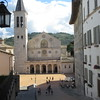 Spoleto's Duomo and the cafe where Don Mateo was filmed