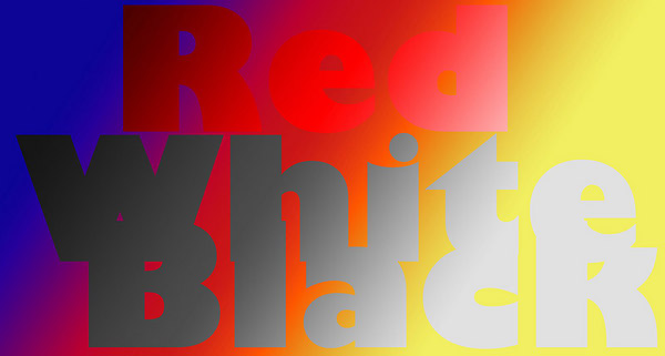 <i>Color Blend</i> The words <i>white</i> and <i>black</i> are both neutral in terms of color.  So in color blending mode, they have the effect of neutralizing the background. The word <i>red</i> is, well, red, so it blends by making everything it covers red.