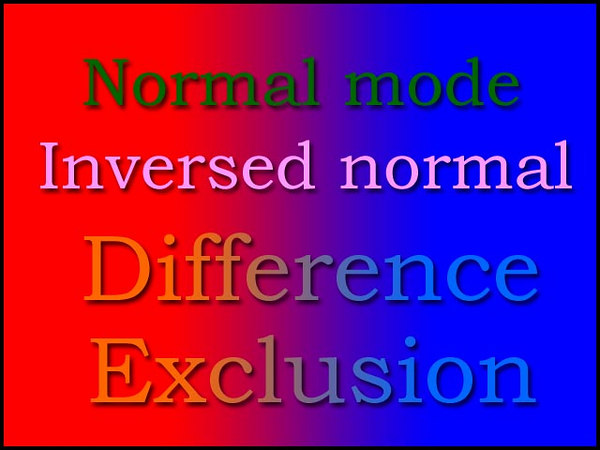 The identical blending modes on top of a colored background, however, deliver a totally different experience. <br /> Our text pretty much lost its original hunter green color and became… err, different (I added Drop Shadow style for better visibility).<br /> <br /> Which immediately gives us a hint: these modes may work well when we need to put something like a logo or a copyright notice on top of a multicolored image (read: a normal photograph) and guarantee its visibility regardless of its location on the image. <br /> <br /> Let's give it a try.