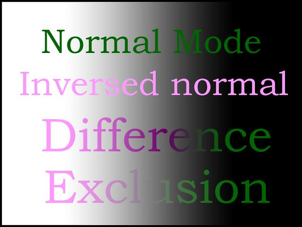 First of all, let's see what does PS Help system have to say about them:  <i>Difference looks at the color information in each channel and subtracts either the blend color from the base color or the base color from the blend color, depending on which has the greater brightness value.   Exclusion creates an effect similar to but lower in contrast than the Difference mode.   In both cases, blending with white inverts the base color values. Blending with black produces no change.</i>  Not much but enough to start.  If we put this theory to the test by creating a few lines of text on top of a simple black to-white gradient we can get the first feeling of how they work.
