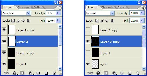 """As with the """"Brushed Metal"""", we need to solidify the Dissolve effect. So we create a copy of each layer, merge them and hide the originals, leaving only the merged copy in a Normal mode. <br /> The main picture remains intact."""
