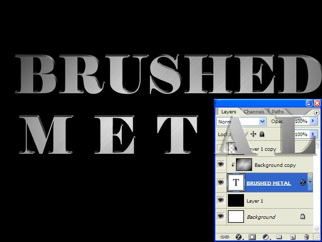 """So, we do the following:<br /> 1.Type the words """"Brushed Metal""""<br /> 2.Space the second word using Ctrl/Cmd + Arrows<br /> 3.Move the text layer under our blurred one.<br /> 4.Highlight the blurred layer.<br /> 5.Perform Layer 