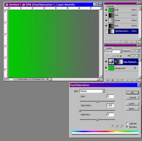 The image on the right illustrates the interaction of hue and saturation.  The bottom layer is pure green.  The adjustment layer on top is set to reduce the saturation to 0 and has a gradient mask ranging from black to white.  Thus the saturation is reduced as we move from left to right, and the result ranges from strong green to gray.