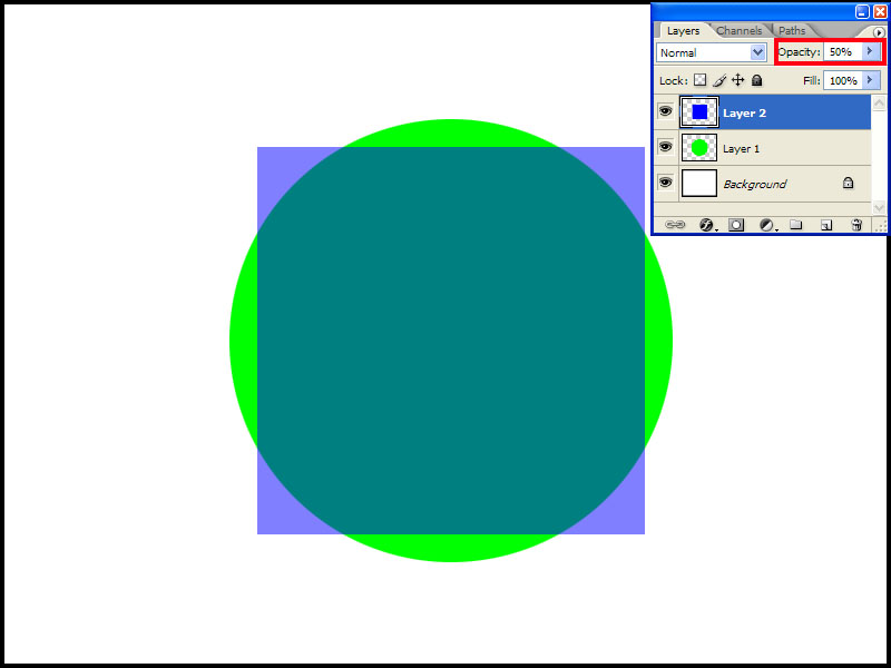 """Now let's click the Opacity word in the Layers palette and change the value by either typing """"50"""" or tweaking it with the mouse. The picture will change to something like this.<br /> <br /> The top-most layer becomes semi-transparent and provides a nice """"see-through"""" effect ."""