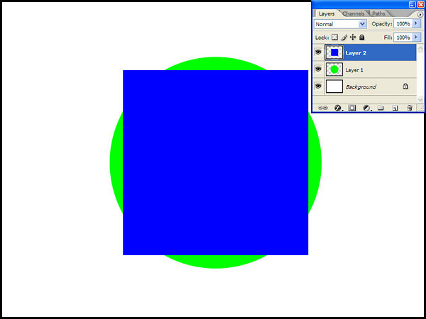 Let's create one more layer, and now using a Rectangular Marquee (again, with the Shift depressed), populate it with a blue square. Our Layers palette and our picture will look like this one on the left.