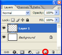 Let's create a new layer. You can do it by: <ul> <li>selecting Layer|New|Layer menu command, <li>pressing Ctrl/Cmd + Shift + N, <li>or, my personal favorite, by clicking the New Layer icon on the bottom of the Layers palette. </ul> <p>The reason I like it the most is the lack of the confirmation dialog. This button simply creates a new transparent layer and lets me go with my own business.