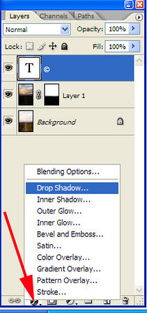 Perform Layer|Layer Style|Drop Shadow… menu command, or click the <i>f</i>-looking icon on the bottom of the Layers palette and select Drop Shadow… popup menu item.