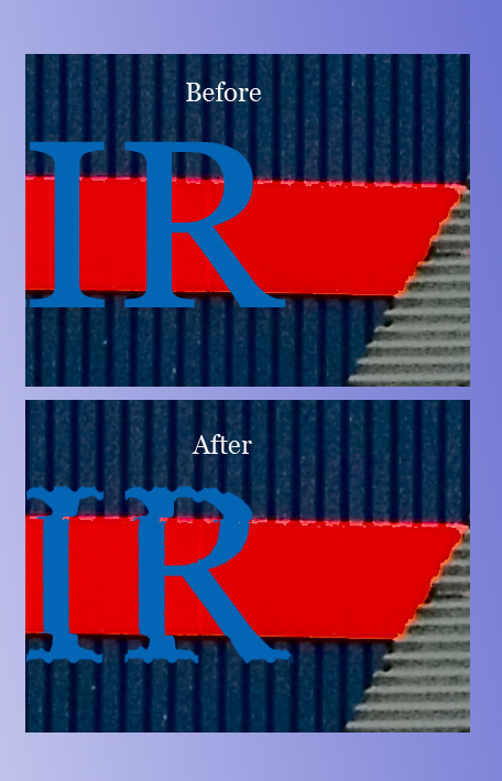 The photo to the right is a 100% crop of the photo above. <br /> It shows the difference between before and after the displace filter was applied.<br /> <br /> See how the text follows the contours of the background image. <br /> It's actually following the displacement map (grayscale image) made from the background image (color image). Here's how we do it.