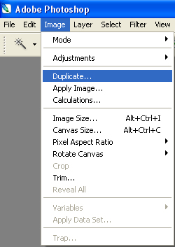 Open your photo you want to add text to in Photoshop.<br /> Next choose Image>Duplicate this image will be our displacement map.