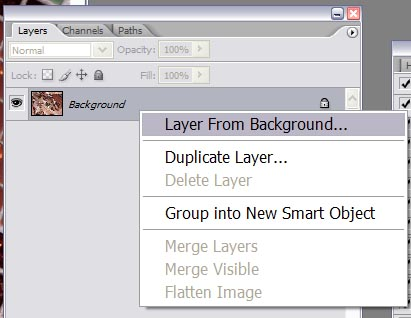 """In your layers palette, right click on the background layer and select """"Layer From Background…...""""<br /> This will let us edit/adjust the background if needed later on. A background layer has limitations that a layer does not. By converting the background to a layer, we are able to manipulate it in more ways than if it were just a background.<br /> <br /> Now we need to copy the original image of our subject/model into the displacement image. <br /> <br /> Lets organize our two images (the original and our new displacement map) side-by-side. Then select your Move tool. While holding down the shift key click on your original image and drag it on top of your displacement image. <br /> <br /> Holding down the shift key automatically aligns the two new image layers up."""