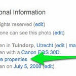<h2>Linking EXIF Data</h2>  If your image has EXIF data, you'll see a 'more properties' link near the bottom of the Flickr page on the right side. Click on that link.