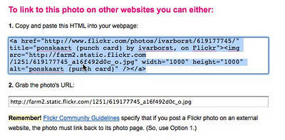 Since Flickr requires a link back to the Flickr site, the first one is the easiest to use. <br /> <br /> Select the first one by clicking on it, and copy the code (cmd+c on the mac, ctrl+c on windows).