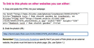 <h2>Linking EXIF Data</h2>  To add the EXIF information, you've got to select the other code on Flickr.  Copy the #2 code (cmd+c on mac, ctrl+c on windows).