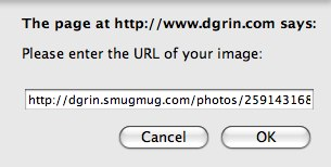 When you click on that icon you will be asked to enter in the URL of your image. Since you copied it earlier, all you have to do now is paste it.<br /> <br /> NOTE: If you right-clicked on an image you may have copied a different size than what you want. Like if you clicked on the thumbnail, but you want to post it large. Just make sure that the size code just before the .jpg is the right one for the size you want:<br /> <br /> X3Large = X3<br /> X2Large = X2<br /> XLarge = XL<br /> Large = L<br /> Medium = M<br /> Small = S<br /> <br /> Click OK.