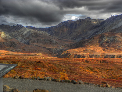 "The setting that produced this fiinished photo is labeled ""B"", and was originally intended for dark mountains with dark clouds overhead, and a green foreground.  But it also did well at emphasizing the color of the fall tundra foliage."