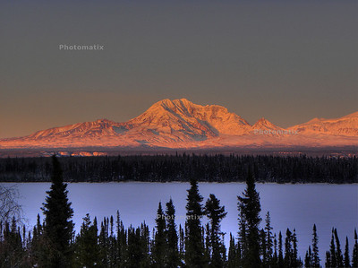 2/13/2010 4:48 PM:  One of a series of shots for a panorama of the Wrangell Mts, this photo of Mt Drum is a sample of how much better an HDR photo is than the standard fare.  This is a composite of the next three photos in the gallery.  In the normal shot, exposing for the colors on the mountain, the foreground would appear black.  But with the HDR processing there is detail from front to back.