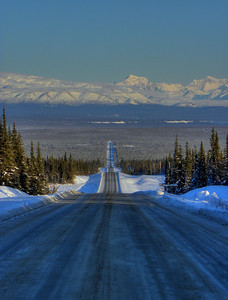 The Edgerton Cut-Off from near the Richardson Hwy, looking at the Wrangell Mts.